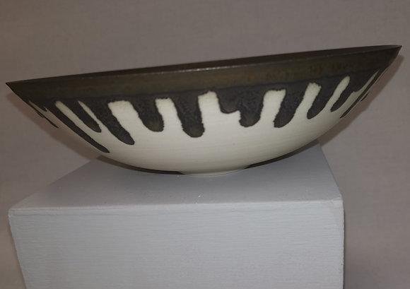 Medium Cream/Bronze Porcelain Bowl by Peter Wills