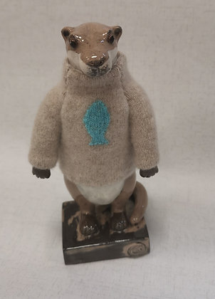 Otter in Hand Knitted Cashmere beige jumper with blue fish - Gwen Vaughan