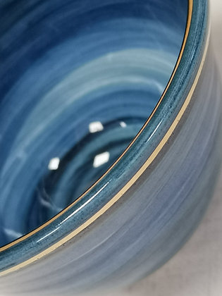 Blue footed bowl with gold enhancements II - Caro Flynn