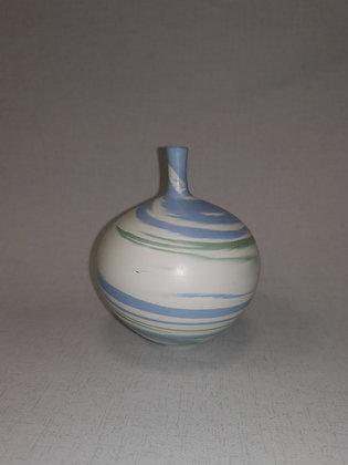 Aqua/Green Swirls Round Vase by Christine Gittins CG6