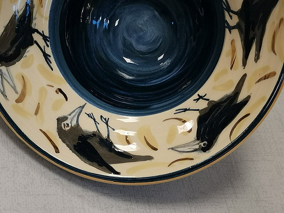 Blue footed Bowl with Hand Painted Rooks II- Caro Flynn