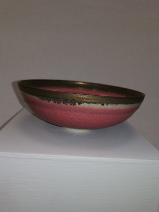 Petite Impressed Red/Bronze Bowl by Peter Wills P111