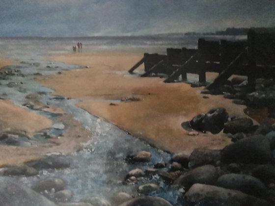 """Amroth Beach"" - Jantien Powell - Signed Print"