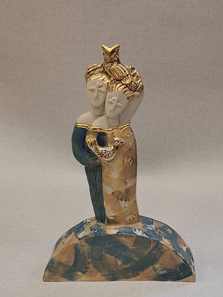 "Ceramic sculpture by Val James - ""Spirit Sisters"""