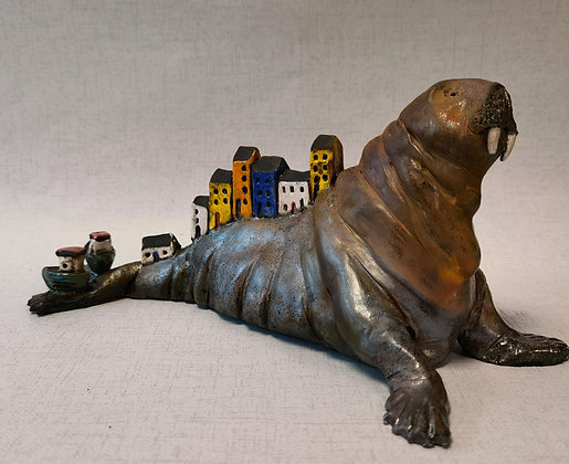 """""""Wally the Walrus - Tenby"""" -  by Pi Potters"""