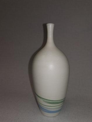 Aqua/Green Swirls Long Neck Bottle Vase by Christine Gittins CG7