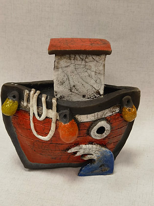 Little Red Tug Boat by Keely Clarke Ceramics