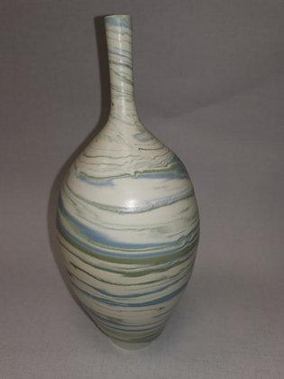 Aqua/Green Swirls Tall  Narrow Neck Vase CG2 - Christine Gittins