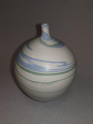 Aqua/Green Swirls Narrow Neck Vase CG4 - Christine Gittins