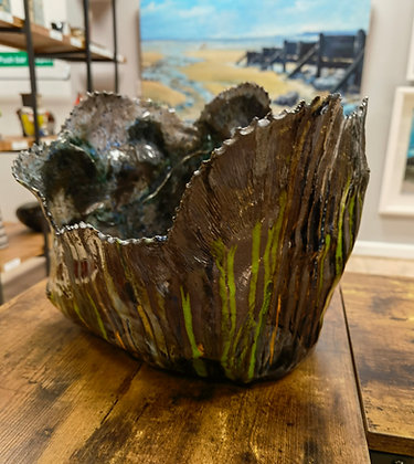 Large Green/Blues/Orange Pot - The Coral Range - Lesley Badger