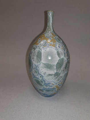 Medium Crystal Glaze Mustard/Greys Vase - Simon Rich