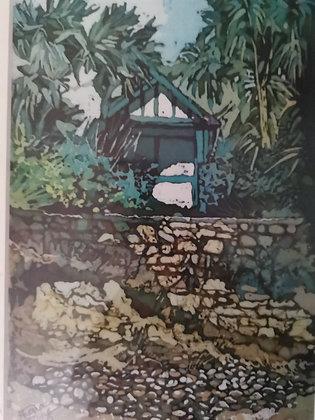 """Langland Hut"" Print by Rhona Tooze"