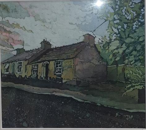 """Cream Pembrokeshire Cottage"" - Batik - Rhona Tooze"