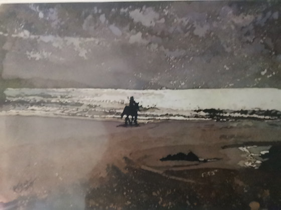 """Riding on the Beach"" Print by Rhona Tooze"