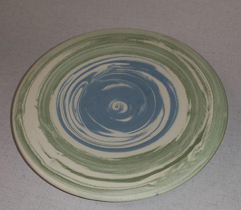 Aqua/Green Swirls Long Neck Bottle Vase by Christine Gittins CG9