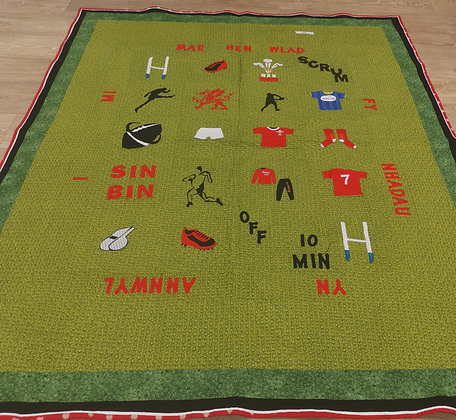 "Hand Made Appliqued ""Welsh Rugby"" Quilt by Bethan Roper"