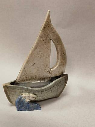 Pale Blue Sail Boat by Keely Clarke Ceramics