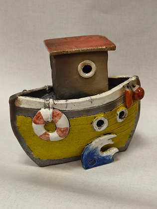 Yellow Tug Boat Red Roof by Keely Clarke Ceramics