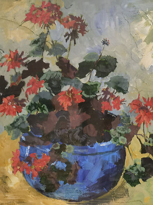 """""""Geranium in a Blue Pot"""" Framed Acrylic by Caroline MacLachlan"""