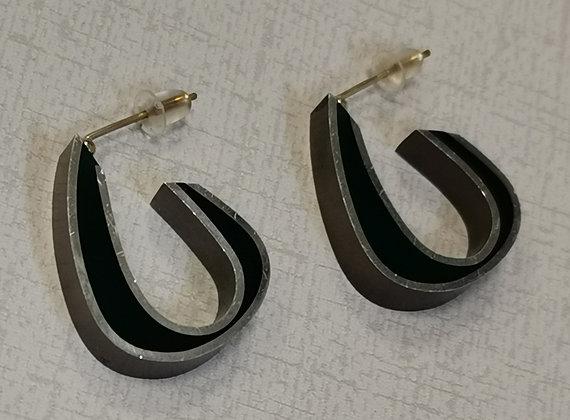 Panayotav Silver/Black Hoop Post Earrings