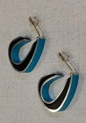 Panayotav Turquoise/Black Hoop Post Earrings