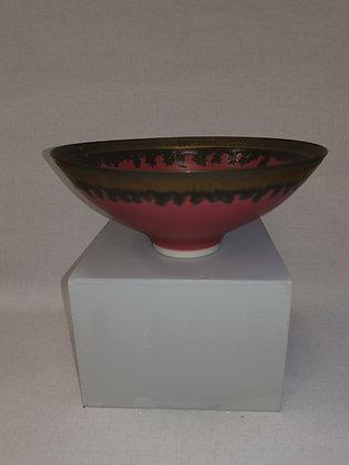 Medium Deep Pink/Bronze Bowl by Peter Wills PW101
