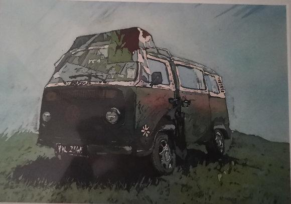 """Cariad, Welsh V.W. "" Print by Rhona Tooze"