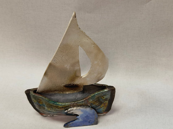 Lustre Green Sail Boat by Keely Clarke Ceramics