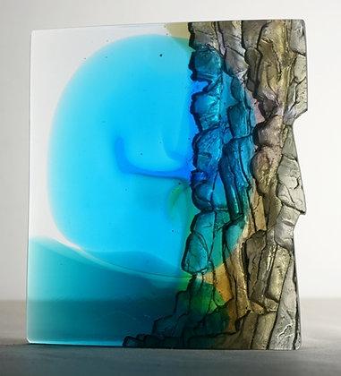 Blue Moon Cliff Edge - Glass Sculpture - Crispian Heath