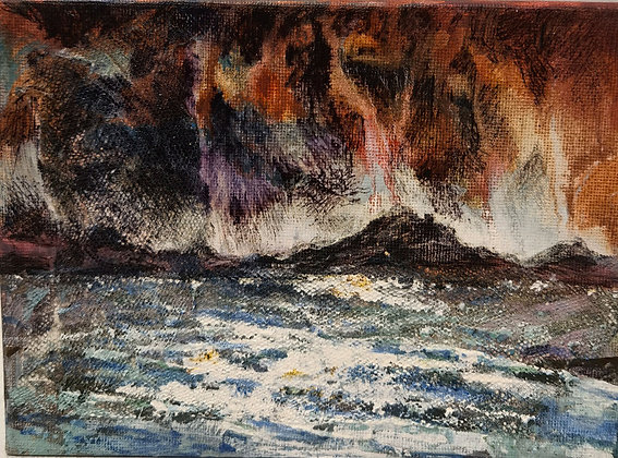 Falling Clouds in St Brides Bay - Victoria Reynolds Miniatures