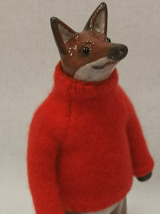 Fox in Hand Knitted Cashmere Jumper by Gwen Vaughan
