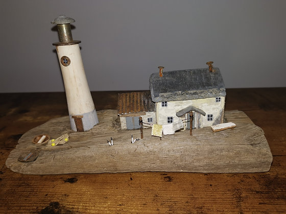 """Lighthouse Keepers Cottage"" Driftwood Sculpture by Trysorau Cymraeg (Welsh Trea"