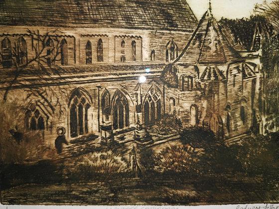 """Llandaff Cathedral"" -  Etching - Redvers John"