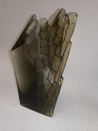 Grey Rugged Cliff Edge - Glass Sculpture - Crispian Heath