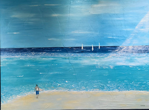 """""""Patience - Waiting for the Wave Tenby"""" - Oil - Byron John Lambert"""