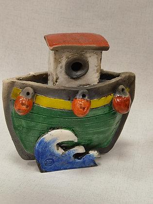 Little Green Tug Boat by Keely Clarke Ceramics