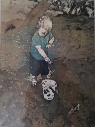 """Boy on Beach"" Print by Rhona Tooze"