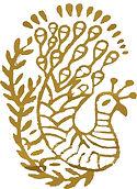 blockprint of gold peacock