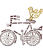 blockprint of a yellow bird on a brown bicycle