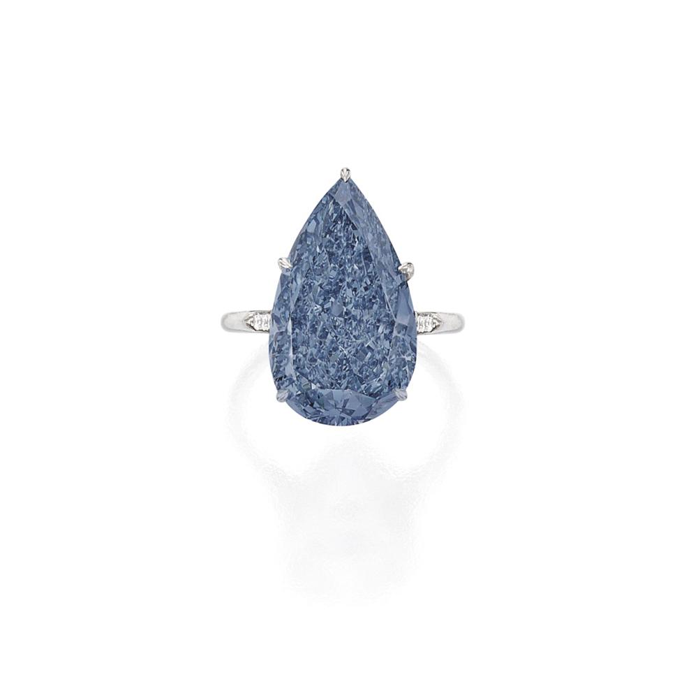 10.62 carat Fancy Vivid Blue Pear shape Diamond. image courtesy of Sotheby's