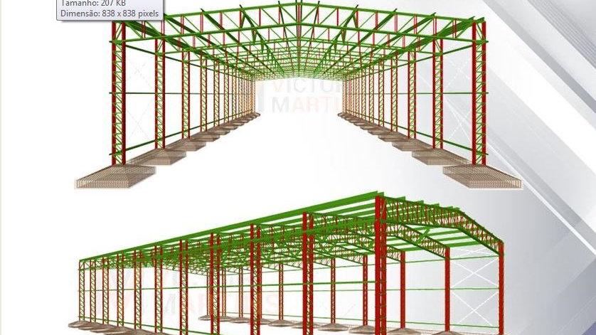 CypeCad Metálicas 3D 2019 - Cálculo Galpão c/ Pilar e Tesoura Treliçado