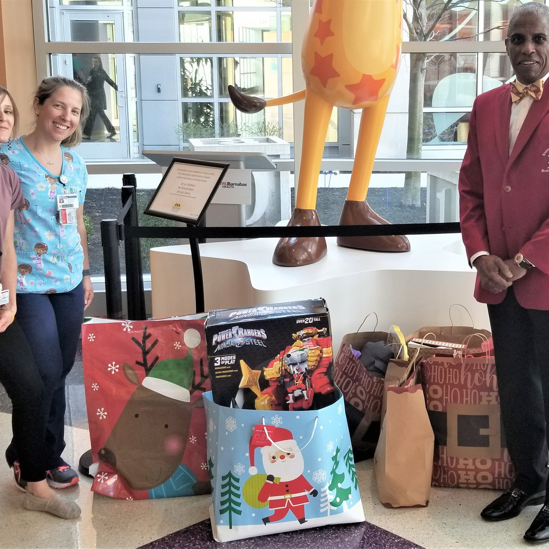 Foundation Chairman, Dr. Stephen Lawrence donates toys to the Bristol Myers Squibb Children's Hospital at Robert Wood Johnson University Hospital Child Life Program.