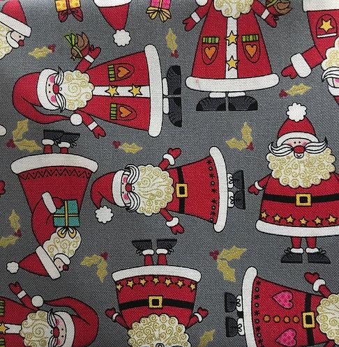Makower Tumbling Santas on grey