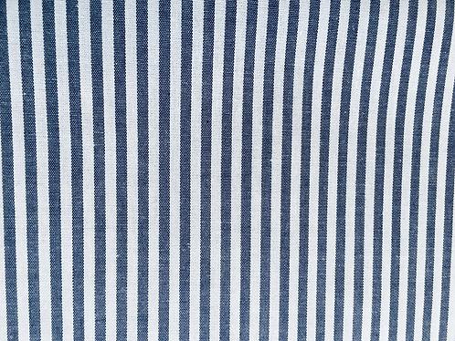100% Cotton striped shirt fabric blue on white