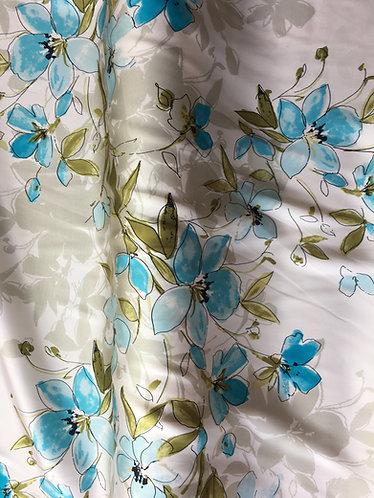 John Kaldor  blue/ivory floral satin