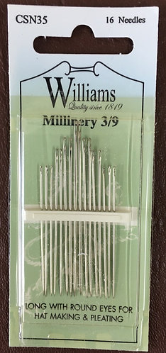 Millinery needles by Williams, sizes 3/9