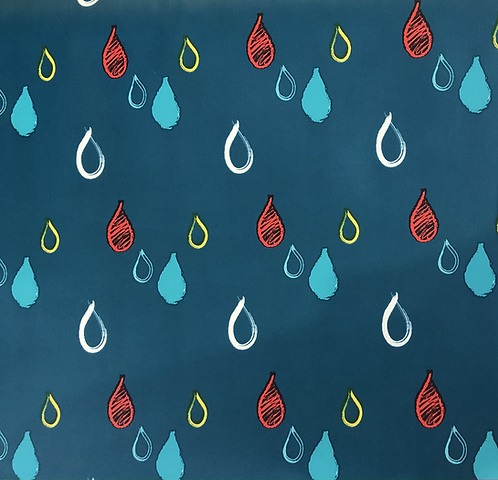 Teal Raindrop design raincoat fabric