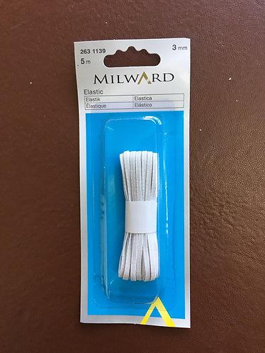 3mm corded elastic  White