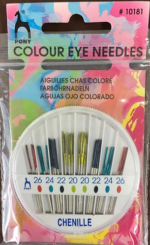 Chenille Needles with coloured eye by Pony, sizes 20/26