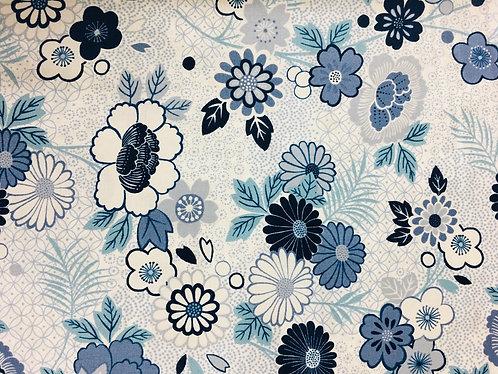 Makower Indigo Floral Montage